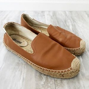 Soludos Cognac Leather Espadrille Slip On Shoes